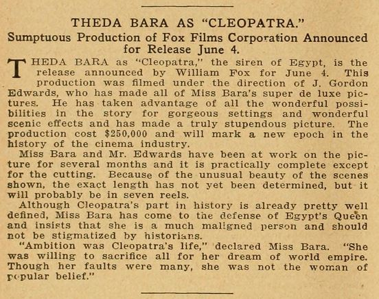 theda bara portrayal of cleopatra essay Theda bara was america's first sex symbol and motion picture vamp in 1917 she filmed cleopatra, her masterpiece a new biography is out now.