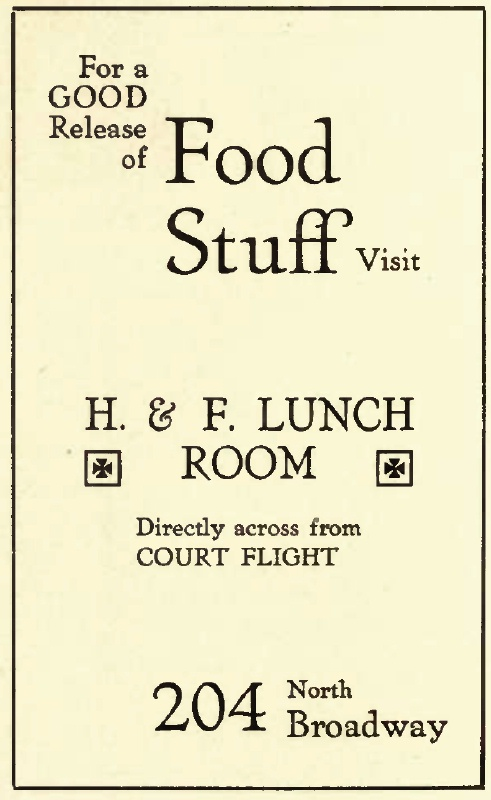 Court Flight lunch room ad