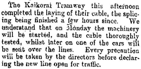 Kaikorai tramway cable laying finished