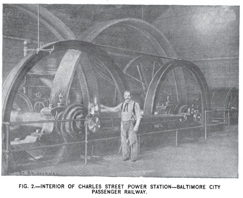 Fig. 2 -- Interior of Charles Street power station -- Baltimore City Passenger Railway Co.