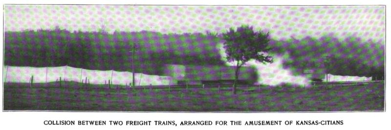 collision staged between two freight trains...