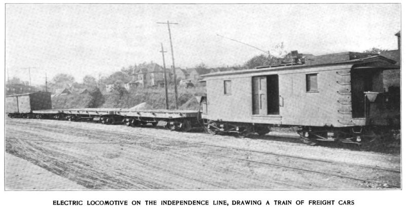 electric locomotive on the independence line, drawing a train of freight cars