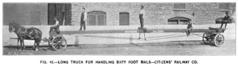 Fig. 42 -- Long Truck for Handling Sixty Foot Rails -- Citizens' Railroad Co.